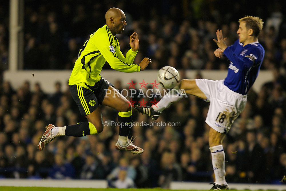 LIVERPOOL, ENGLAND - Wednesday, January 23, 2008: Everton's Phil Neville and Chelsea's Nicolas Anelka during the League Cup Quarter-Final 2nd Leg match at Goodison Park. (Photo by David Rawcliffe/Propaganda)