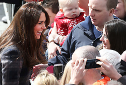The Duchess of Cambridge meets the crowds as leaves the Emirates Arena in Glasgow, Thursday, 4th April 2013.  Photo by: Stephen Lock / i-Images