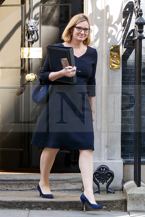 © Licensed to London News Pictures. 18/04/2017. London, UK. Home Secretary AMBER RUDD leaves Downing Street after Prime Minister Theresa May called for an early election on 18 April 2017.  Photo credit: Tolga Akmen/LNP