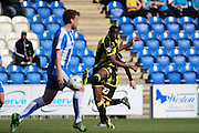Burton No 10 Lucas Akins scores the third goal in the Sky Bet League 1 match between Colchester United and Burton Albion at the Weston Homes Community Stadium, Colchester, England on 23 April 2016. Photo by Nigel Cole.