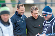 David Howell (left) and Hugh Grant pose for a picture on the first tee, before the third round of the Alfred Dunhill Links Championships 2018 at St Andrews, West Sands, Scotland on 6 October 2018.
