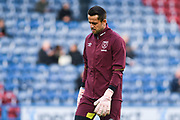 Lukasz Fabianski of West Ham United (1) warming up during the Premier League match between Huddersfield Town and West Ham United at the John Smiths Stadium, Huddersfield, England on 10 November 2018.
