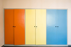 Wardrobes in bedroom in Bauhaus Masters' House by Walter Gropius on Ebertallee in Dessau-Rosslau Germany