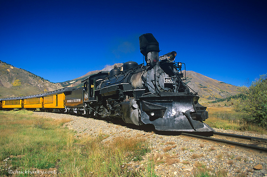 Durango and Silverton narrow guage railroad passenger train in Durango, Colorado, USA