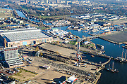 Nederland, Noord-Holland, Amsterdam, 11-12-2013; Amsterdam-Noord, Mediawharf, terrein van voormalige NDSM-werf.<br /> Mediawharf, hub for creative industry, former NDSM-shipyard.<br /> luchtfoto (toeslag op standaard tarieven);<br /> aerial photo (additional fee required);<br /> copyright foto/photo Siebe Swart.