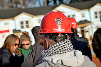 NC State employee gears up for her assignment on the Build-A-Block Habitat for Humanity project.