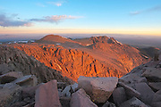 Early morning light on Pikes Peak as seen from the summit looking north