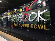 General overall view of Super Bowl LII signage on a Metro Transit light rail train at the Minneapolis-St. Paul International Airport (MSP) in Minneapolis, Monday, Jan 15, 2018. Super Bowl LII will be the 52nd Super Bowl and the 48th modern-era National Football League championship game. It will decide the league champion for the 2017 NFL season. The game will be played on Sunday, Feb. 4, 2018 at U.S. Bank Stadium in Minneapolis. It is the second Super Bowl in Minneapolis, which previously hosted Super Bowl XXVI in 1992. It will be the sixth Super Bowl in a cold weather city.