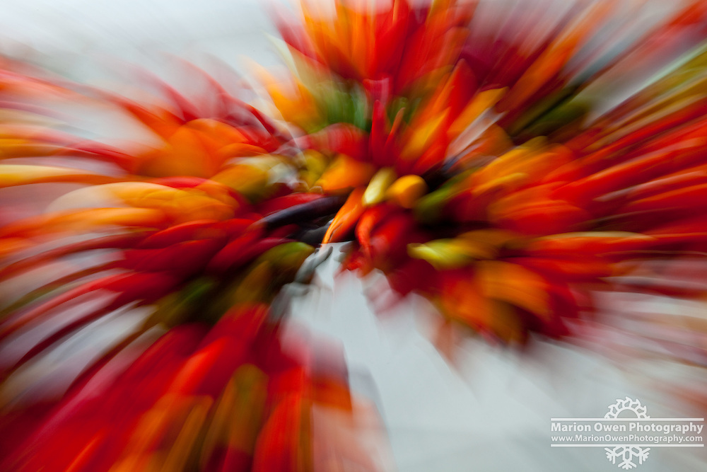 Swirling effect on chili peppers at Pike Place Market in Seattle, Washington..