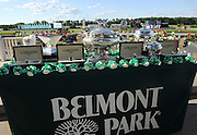 Longines timepieces are displayed next to the elusive Triple Crown trophy, left, and the August Belmont Trophy, center, Saturday, June 7, 2014, before the 146th running of the Belmont Stakes at Belmont Park in New York.  Longines, the Swiss watchmaker known for its elegant timepieces, is the Official Watch and Timekeeper of the 146th running of the Belmont Stakes. (Photo by Diane Bondareff/Invision for Longines/AP Images)
