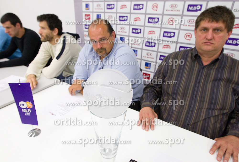 Vlada Jovanovic, coach of KK Partizan, Dragisa Drobnjak of Krka, Aleksandar Dzikic of Krka and  Roman Lisac  during press conference of NLB Basketball League one day before NLB Final Four Tournament 2011, on April 18, 2011 in Arena Stozice, Ljubljana, Slovenia.  (Photo By Vid Ponikvar / Sportida.com)