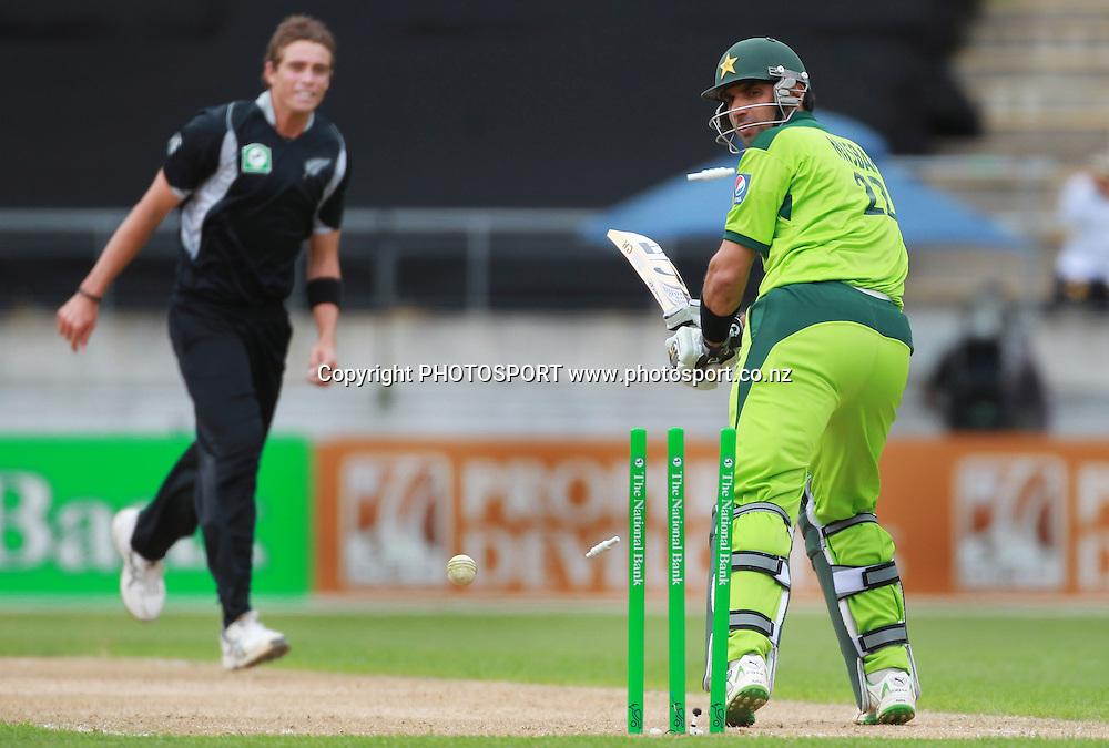Misbah-ul-Haq is bowled by Tim Southee. New Zealand Black Caps v Pakistan, ODI Cricket. Match 1, Westpac Stadium, Wellington, New Zealand. Saturday 22 January 2011. Photo: Andrew Cornaga/photosport.co.nz