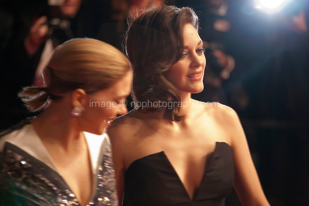 Léa Seydoux and Marion Cotillard at the gala screening for the film It's Only the End of the World (Juste La Fin Du Monde) at the 69th Cannes Film Festival, Thursday 19th  May 2016, Cannes, France. Photography: Doreen Kennedy