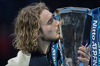 Tennis - 2019 Nitto ATP Finals at The O2 - Day Eight<br /> <br /> Singles Final : Stefanos Tsitsipas (Greece) Vs. Dominic Thiem (Austria)<br /> <br /> Stefanos Tsitsipas (Greece) kisses his ATP trophy following his win<br /> <br /> COLORSPORT/DANIEL BEARHAM