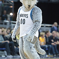 04 October 2010: The mascot of Minnesota Timberwolves is seen during the Minnesota Timberwolves 111-92 victory over the Los Angeles Lakers, during 2010 NBA Europe Live, at the O2 Arena in London, England.