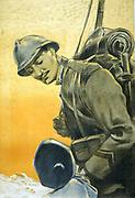 Italian World War I Poster shows a soldier looking down at his small son. '1917 Aurelio Craffonara, 1875-1945, artist.