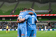 MELBOURNE, AUSTRALIA - SEPTEMBER 18: Melbourne City celebrate the opening goal during the FFA Cup Quarter Finals match between Melbourne City FC and Western Sydney Wanderers FC at AAMI Park on September 18, 2019 in Melbourne, Australia. (Photo by Speed Media/Icon Sportswire)