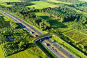 Nederland, Gelderland, Gemeente Geldermalsen, 23-08-2016; Ecoduct Lage Veld, ook  ecoduct Beesdsche Veld genoemd, A2 ten noorden van Beesd. <br /> Ecoduct highway / motorway A2<br /> aerial photo (additional fee required); <br /> luchtfoto (toeslag op standard tarieven);<br /> copyright foto/photo Siebe Swart