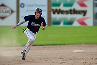 KELOWNA, BC - JULY 16: Cole Cummings #13 of the Kelowna Falcons rounds second base against the the Wenatchee Applesox  at Elks Stadium on July 16, 2019 in Kelowna, Canada. (Photo by Marissa Baecker/Shoot the Breeze)