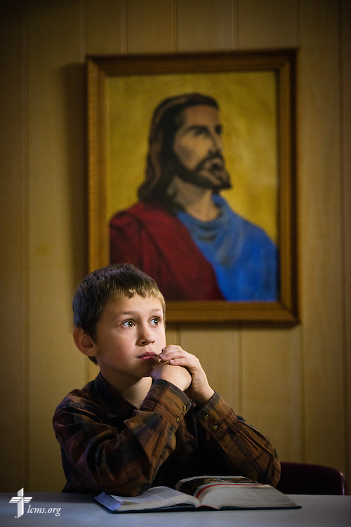 Corey Hanson watches a film about Jesus following worship on Sunday, April 12, 2015, at Mount Calvary Lutheran Church in Holdrege, Neb. LCMS Communications/Erik M. Lunsford