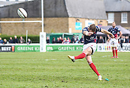 Peter Lydon attempts a penalty kick during the Green King IPA Championship Play-Off match between London Scottish &amp; Worcester at Richmond, Greater London on Saturday 2nd May 2015<br /> <br /> Photo: Ken Sparks | UK Sports Pics Ltd<br /> London Scottish v Worcester, Green King IPA Championship, 2nd May 2015<br /> <br /> &copy; UK Sports Pics Ltd. FA Accredited. Football League Licence No:  FL14/15/P5700.Football Conference Licence No: PCONF 051/14 Tel +44(0)7968 045353. email ken@uksportspics.co.uk, 7 Leslie Park Road, East Croydon, Surrey CR0 6TN. Credit UK Sports Pics Ltd