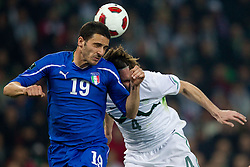 Leonardo Bonucci of Italy vs Marko Suler of Slovenia during EURO 2012 Quaifications game between National teams of Slovenia and Italy, on March 25, 2011, SRC Stozice, Ljubljana, Slovenia. (Photo by Vid Ponikvar / Sportida)
