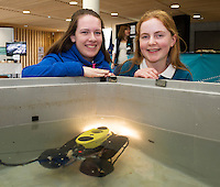 11/11/2015 Repro free:   More than 300 students visited the Marine Institute for Galway Science &amp; Technology Festival and the Sea for Society project. At the event were <br /> pupils Sarah Nu Chuaig and Eimear Nic an Baird from Colaiste na Coirbe with a mini Holland 1. Photo:Andrew Downes, xposure.