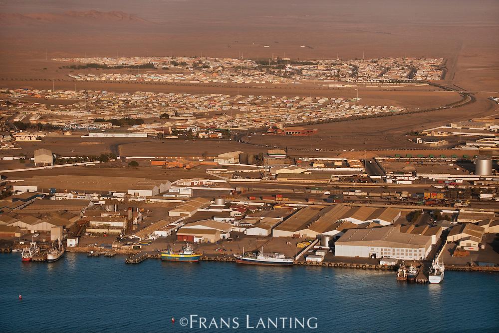 Fishing docks (aerial), Walvis Bay, Namibia