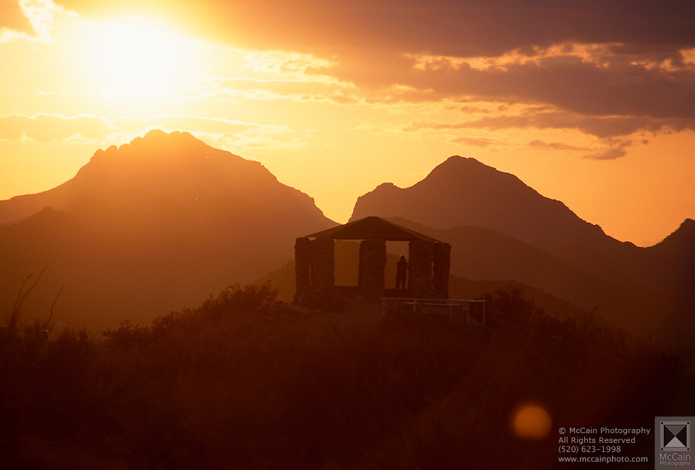 "Gazebo on top of ""A Mountain,"" at sunset, Tucson Mtn. Park, Tucson, AZ"