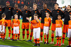 Ryan Babel of Holland, Georginio Wijnaldum of Holland, Steven Bergwijn of Holland, Frenkie de Jong of Holland, Denzel Dumfries of Holland, Marten de Roon of Holland, Daley Blind of Holland ing oranjevriendjes line up, lineup, child during the UEFA Nations League A group 1 qualifying match between The Netherlands and France at stadium De Kuip on November 16, 2018 in Rotterdam, The Netherlands