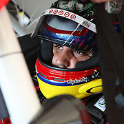 Sprint Cup Series driver Juan Pablo Montoya (42) prepares for a practice run at Daytona International Speedway on February 18, 2011 in Daytona Beach, Florida. (AP Photo/Alex Menendez)