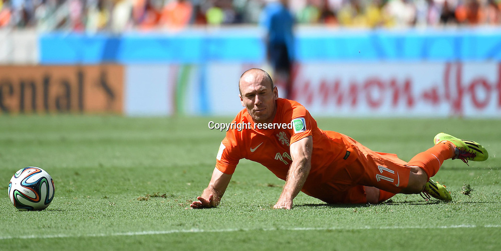 29.06.2014. Fortaleza, Brazil. Netherlands Arjen Robben goes down during a Round of 16 match between Netherlands and Mexico of 2014 FIFA World Cup at the Estadio Castelao Stadium in Fortaleza, Brazil, on June 29, 2014.