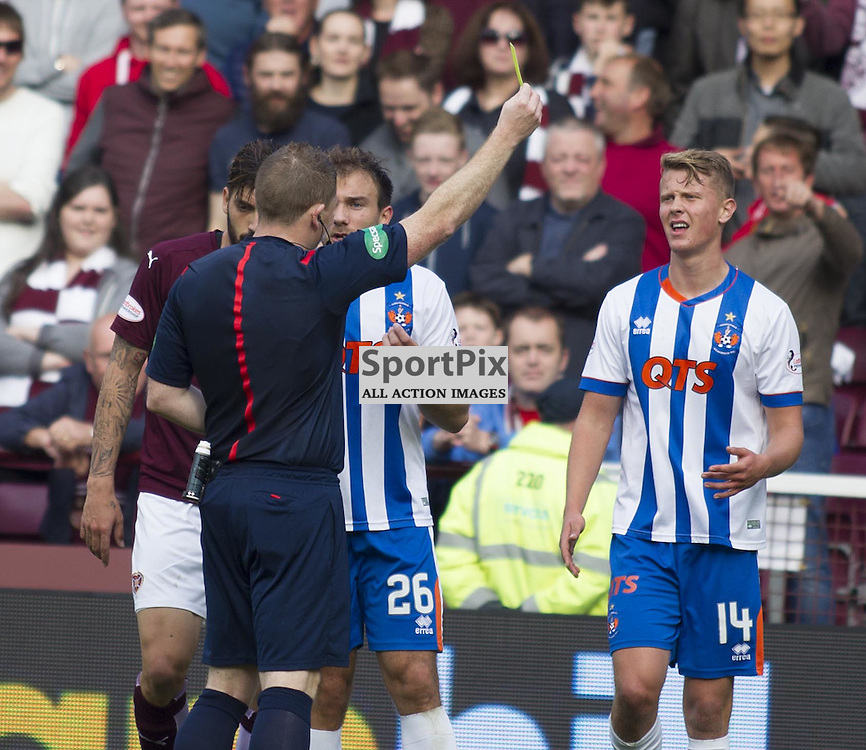 Mark O'Hara of Kilmarnock gets a yellow card from referee John Beaton during the Ladbrokes Scottish Premiership match between Heart of Midlothian FC and Kilmarnock FC at Tynecastle Stadium on October 3, 2015 in Edinburgh, Scotland. Photo by Jonathan Faulds/SportPix