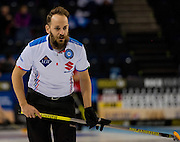 "Glasgow. SCOTLAND.  Italian, Skip, Joel RETORNAZ, during the ""Round Robin"" Game.  Scotland vs Italy at the Le Gruyère European Curling Championships. 2016 Venue, Braehead  Scotland<br /> Wednesday  23/11/2016<br /> <br /> [Mandatory Credit; Peter Spurrier/Intersport-images]"