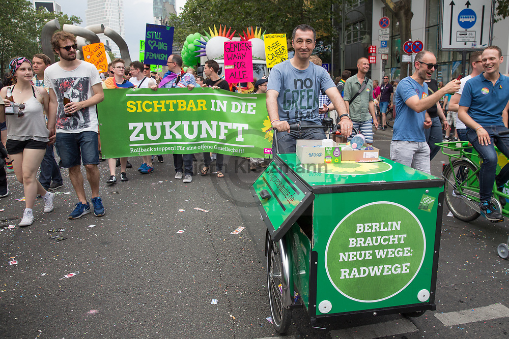Berlin, Germany - 22.07.2017<br /> <br /> The green politican Cem Oezdemir at the Christopher Street Day 2017 in Berlin. Hundreds of thousands of people protesting and celebrating the Berlin Pride<br /> <br /> Gruenen-Politiker Cem Oezdemir auf dem Christopher Street Day 2017 in Berlin. Hunderttausende Menschen protestieren und feiern bei der Berlin Pride unter Motto &bdquo;Mehr von uns &ndash; jede Stimme gegen Rechts!&ldquo;<br /> <br /> Photo: Bjoern Kietzmann
