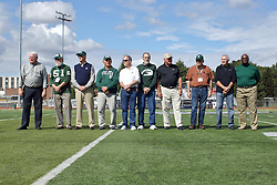 01 October 2016:  Players from the 1965 Titan football team are recognized at halftime during an NCAA division 3 football game between the Wheaton Thunder and the Illinois Wesleyan Titans in Tucci Stadium on Wilder Field, Bloomington IL (Photo by Alan Look)