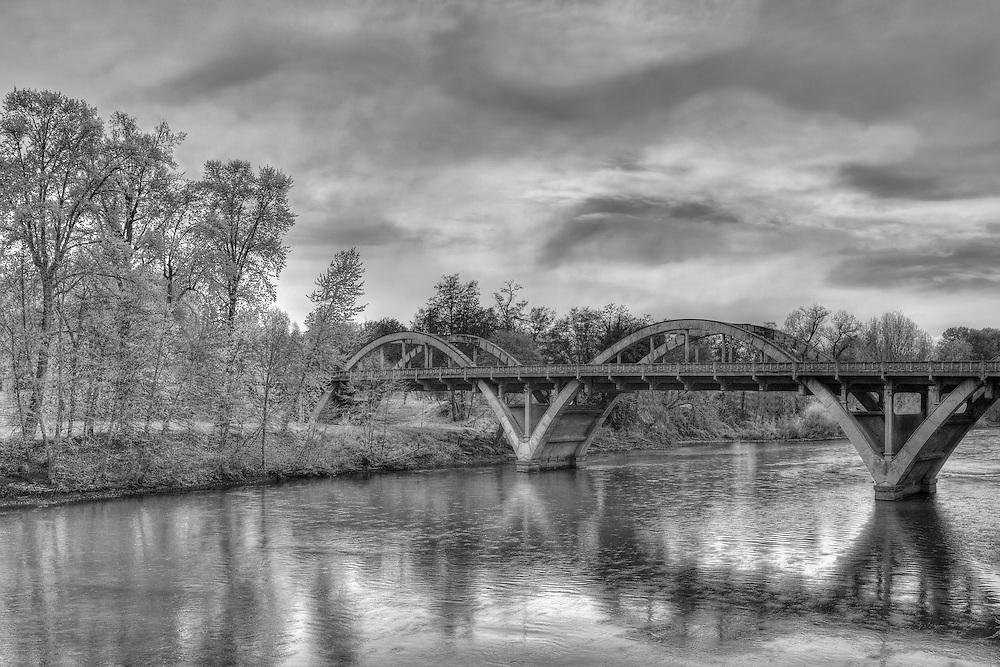 Caveman Bridge - Rogue River - Grants Pass, Oregon - HDR - Black & White