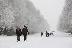 © Licensed to London News Pictures 10/12/2017, Cirencester, UK. People walking dogs and enjoying the heavy fall of snow in Cirencester Park, Gloucestsershire, UK. Photo Credit : Stephen Shepherd/LNP