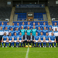 St Johnstone FC Photocall, 2015-16 Season....03.08.15<br /> Back row from left to right, Craig Maitland (Asst Physio), Ally Gilchrist, John Sutton, Graham Cummins, Tam Scobbie, Brad McKay, Brian Easton, Steven Anderson, Joe Shaughnessy, Gareth Rodger, Murray Davidson, George Browning (U20 GK Coach) and Ewan Peacock (Chief Scout)<br /> Middle row from left, Alex Headrick (Sports Science), Manny Fowler (Kit Manager), Steve Banks (GK Coach), Craig Thomson, Liam Caddis, Mark Hurst, Alan Mannus; Zander Clark, Scott Brown, Liam Craig, Alex Cleland (U20 Coach), Alistair Stevenson (Head of Youth Academy) and Scott Williams (Physio).<br /> Front rwo from left, Simon Lappin, Chris Millar, Steven MacLean, Dave Mackay (Captain), Tommy Wright (Manager), Callum Davidson (Asst Manager), Frazer Wright (Vice-Captain),David Wotherspoon, Michael O'Halloran and Chris Kane.<br /> Picture by Graeme Hart.<br /> Copyright Perthshire Picture Agency<br /> Tel: 01738 623350  Mobile: 07990 594431
