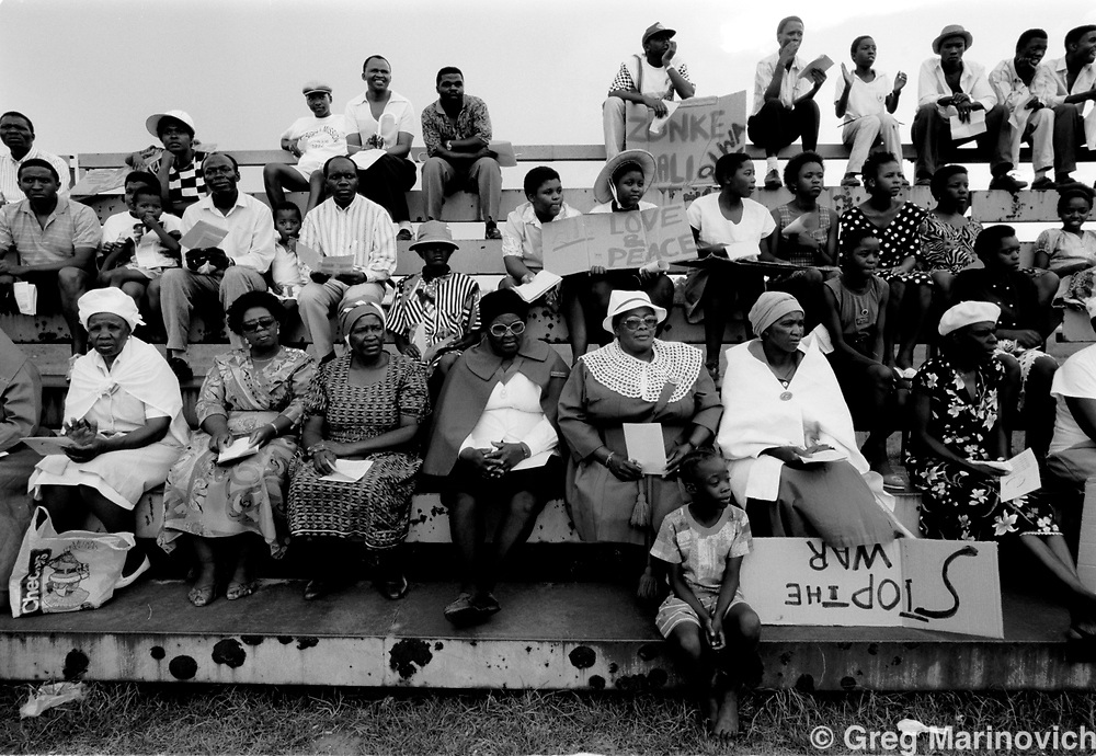 Anti war rally regarding the Inkatha Freedom party and African National Congress conflict of the 'Nineties, Soweto, South Africa, 1991.  (Photo by Greg Marinovich)