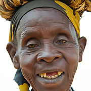 Mukagahima, an elderly Twa, or pygmy, woman, near Kisaro Community Clinic in Kisaro Sector, Rulindo District, Rwanda.