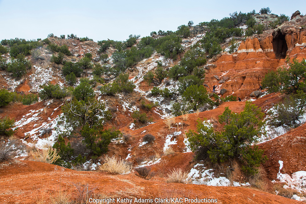 Years of geologic time are exposed along the walls of Palo Duro Canyon.  The  state park gives people a chance to hike, camp, and explore in this dramatic environment.