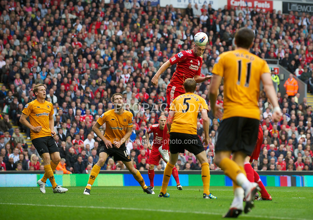 LIVERPOOL, ENGLAND - Saturday, September 24, 2011: Liverpool's Andy Carroll in action against Wolverhampton Wanderers during the Premiership match at Anfield. (Pic by David Rawcliffe/Propaganda)