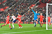 Laura O'Sullivan (1) of Wales punches the ball during the FIFA Women's World Cup UEFA Qualifier match between England Ladies and Wales Women at the St Mary's Stadium, Southampton, England on 6 April 2018. Picture by Graham Hunt.