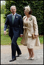 Former Prime Minister Tony Blair and his wife Cherrie arrive for their Son Euan Blair Wedding to Suzanne Ashman at All Saints Church in  Wotton Underwood, United Kingdom. Saturday, 14th September 2013. Picture by Ben Stevens / i-Images<br /> <br /> Pictured are Tony and Cherie Blair arriving at All Saints Church.