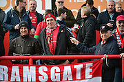 Ebbsfleet fans during the Vanarama National League South match between Ebbsfleet United and East Thurrock United at the Enclosed Ground, Whitehawk, United Kingdom on 4 March 2017. Photo by Jon Bromley.