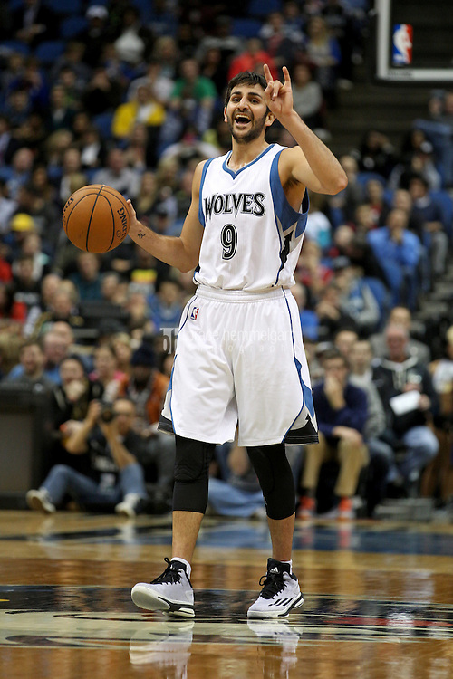 Nov 1, 2014; Minneapolis, MN, USA; Minnesota Timberwolves guard Ricky Rubio (9) calls a play during the third quarter against the Chicago Bulls at Target Center. The Bulls defeated the Timberwolves 106-105. Mandatory Credit: Brace Hemmelgarn-USA TODAY Sports