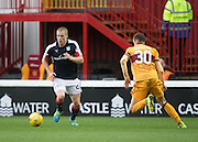 Dundee's Henrik Ojamaa and Motherwell's Steven Hammell - Motherwell v Dundee in the Ladbrokes Scottish Premiership at Fir Park, Motherwell.Photo: David Young<br /> <br />  - © David Young - www.davidyoungphoto.co.uk - email: davidyoungphoto@gmail.com