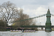 Putney, GREAT BRITAIN,   Both crews,   approaching Hammersmith Bridge 2009 Boat Race,  raced over the Championship Course - Putney to Mortlake, on the River Thames, Sun.29.03.2009. [Mandatory Credit, Peter Spurrier / Intersport-images].Surrey Station, Cambridge Crew, Bow Rob WEITEMEYER, Henry PELLY, Tom RANSLEY, Peter MARESLAND, Deaglan McEACHERN, Hardy CUBASCH, Ryan MONAGHAN, Silas STAFFORD and cox Rebbecca DOWBIGGIN...Middlesex Station Oxford Crew, Bow, Michal PLOTKOWIAK, Colin SMITH, Alex HEARNE, Ben HARRISON, Sjoerd HAMBURGER, Tom SOLESBURY, George BRIDGEWATER, Ante KUSURIN and cox Colin GROSHONG. .