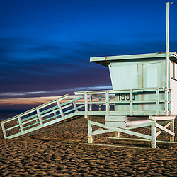 Santa Monica California lifeguard tower 1550 at night at Santa Monica Beach. Photo is horizontal and high resolution. Copyright ⓒ 2017 Paul Velgos with All Rights Reserved.